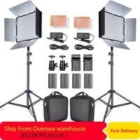 Travor 2set 600pcs studio camera photo light 3200K/5500K CRI93 led video light kit with 2m tripod and NP F550 batteries youtube
