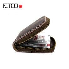 AETOO Original Handmade Cow Leather Men Small Condom Bag Holder Women Mini Coins Money Wallet Male Coin Purse