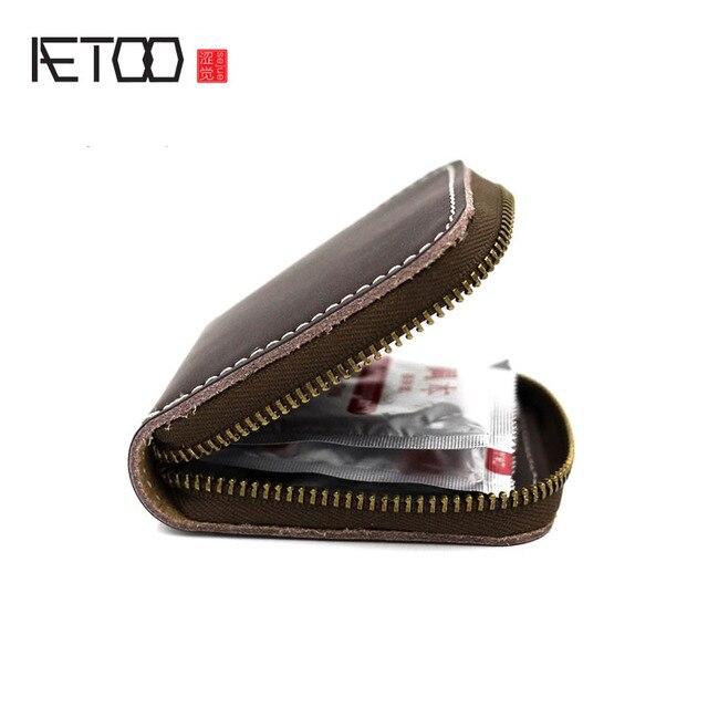 f8dbcf404fb4 AETOO Original Handmade Cow Leather Men Small Condom Bag Holder Women Mini  Coins Money Wallet Condom Wallet Male Coin Bag Purse