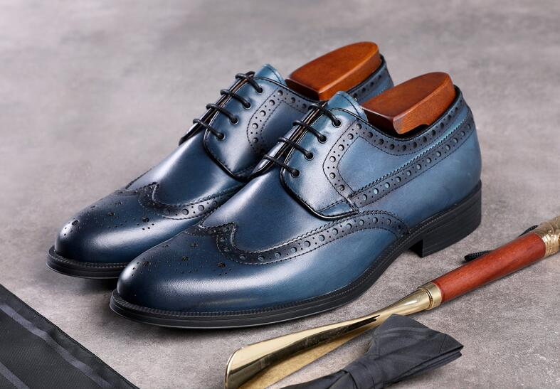 Mens Dress Office Lace-Up Genuine Leather Shoes Men's Casual Party Driving Oxfords Man Vintage Mix Colour Carved Brogue Flats цена