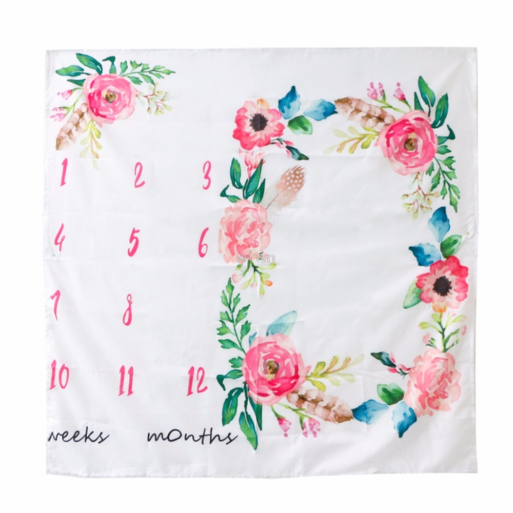 Newborn Baby Watercolor Floral Photography Background Cloth Milestone Blanket Photography Blanket MAY24 dropship abstract watercolor print table cloth