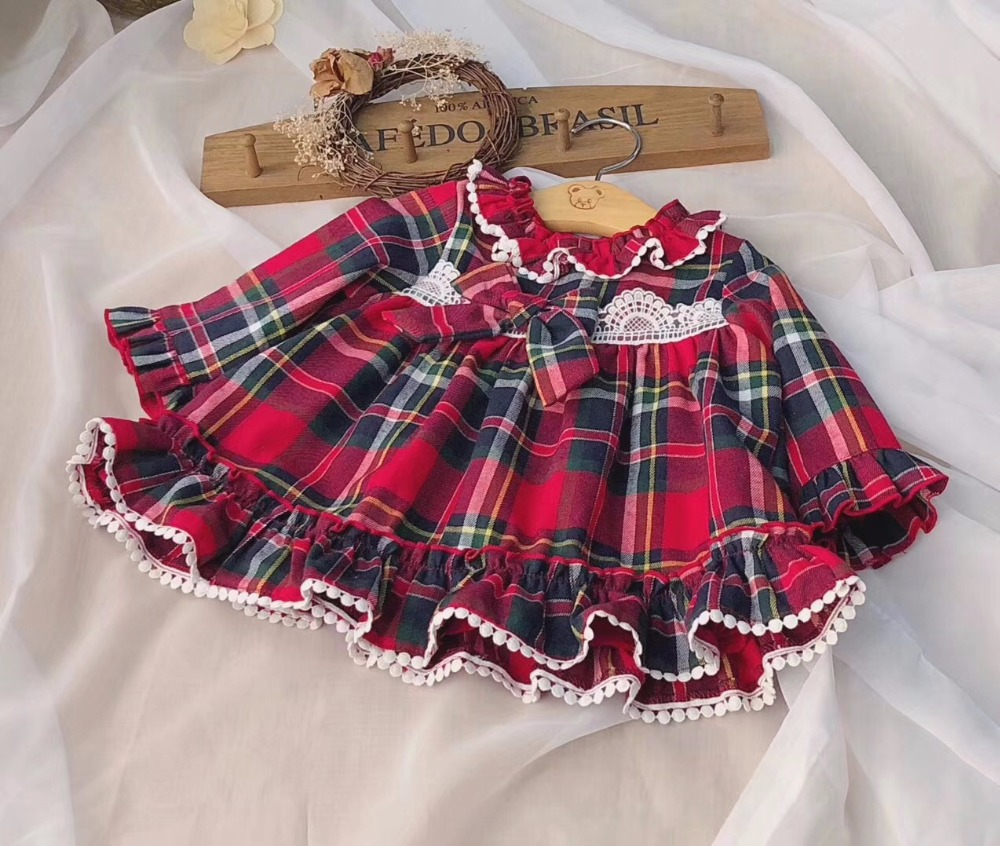 New autumn baby girls dress plaid princess toddler baby dress ruffle collar suitable for height 80-120CM
