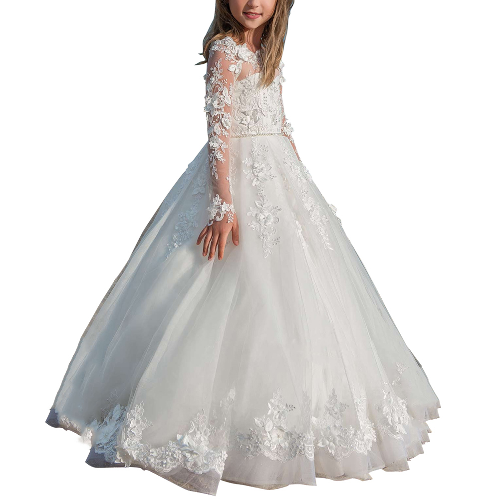 long sleeve first communion dresses for girls applique tulle white flower girls dresses kids party ball gowns girls dresses long sleeve tulle dress for flower girls princess party dresses 3 7 9 11 years christmas ball gowns new year gifts