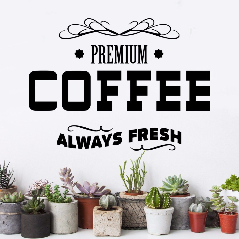 Premium Coffee Cafe Design Art Poster Mural Vinyl Art Removable Poster Mural Beauty Fashion Kitchen Wall Sticker Decoration W77 in Wall Stickers from Home Garden