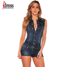 90742c06d7 IDress Women Summer Blue Jeans Playsuit Jumpsuits for Women 2017  Combinaison Short Femme Sexy Bodycon Denim Overalls Combishort