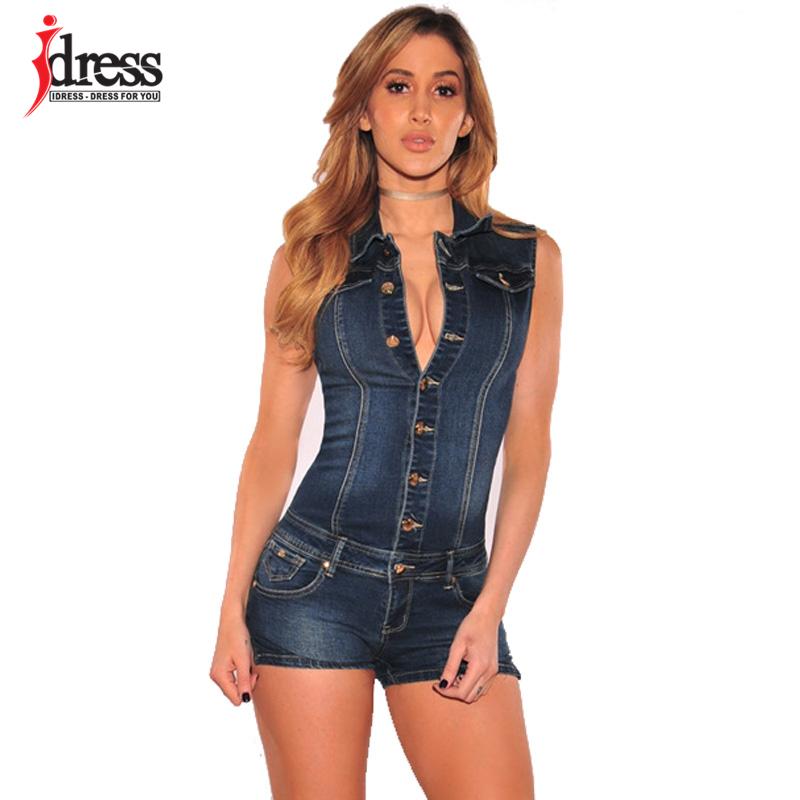 IDress Women Summer Blue Jeans Playsuit Jumpsuits for Women 2020 Combinaison Short Femme Sexy Bodycon Denim Overalls Combishort