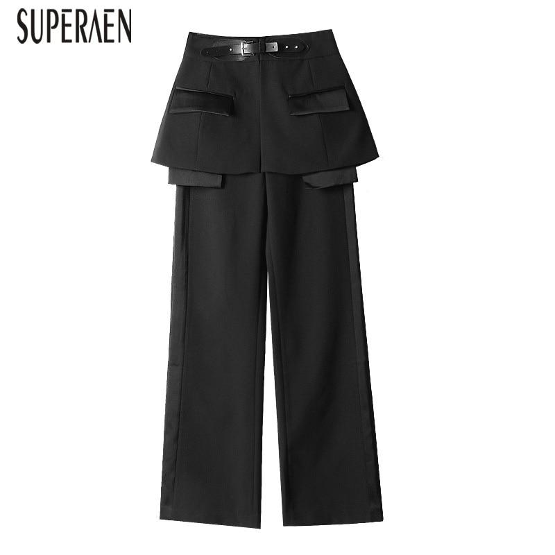 SuperAen Large-jambe Pantalon Femmes De Mode Solide Couleur Sauvage décontracté Cummerbunds pantalons Femme Printemps Nouveau 2019 L'europe Pantalon