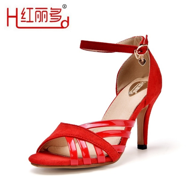 2016 summer European and American black small big 33 42 43 plus size sandals women fashion sexy red round toe thin heels sandals