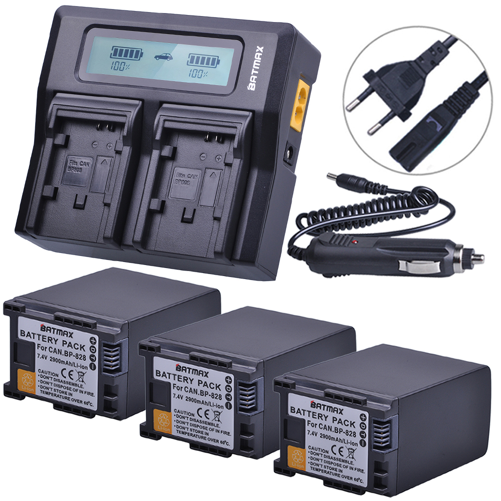лучшая цена 3Pc 2900mAh BP828 BP 828 Camera Batteries + Rapid LCD Dual Charger for Canon HFS30 HF20 HG20 G30 G40 XA20 XA25 HFM300 HFM30 HFG3