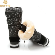 black fashion fabric girl and lady plush warm  fur shoes snow boots winter high boots winter knee high waterproof shoe