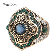 ФОТО 2018 new arrivals bohemian ethnic big wedding rings for women antique gold green crystal ring vintage party jewelry accessories