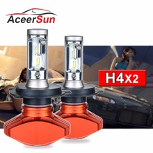 Aceersun H4 Здравствуйте Lo автомобиля светодио дный лампы 80 Вт безвентиляторный 12000LM 6500 К CSP светодио дный авто фары противотуманные лампа светильник 12 В 24 В HB2 H 4
