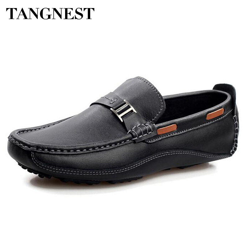 Tangnest Brand New Fashion Men Flats Soft Genuine Leather Loafers Man Casual Driving Shoes Solid Metal Boat Shoes Man XMR2523 branded men s penny loafes casual men s full grain leather emboss crocodile boat shoes slip on breathable moccasin driving shoes