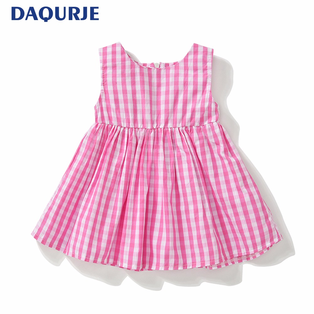 2018 Summer Baby Dress Vestido Infantil Cotton Grid Baby Girl Clothes Sleeveless Baby Princess Dresses 0-3Y Children Clothing