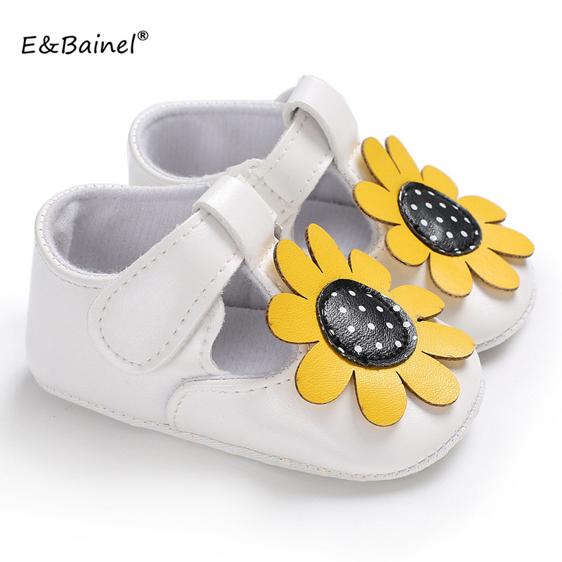 Newborn Baby Moccasins PU Leather Sunflower Baby Girls Shoes Soft Bottom Toddler Infant First Walkers Crib Shoes