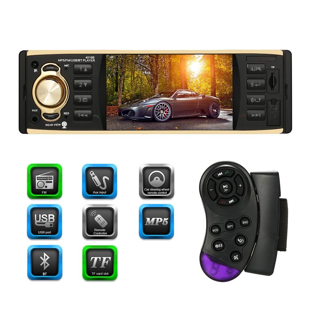 4 1 inch 1 DIN Car Radio MP5 Player Multimedia BT Aux Input Steering Wheel Remote