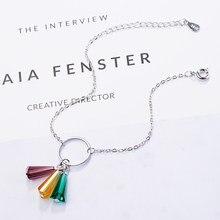 ANENJERY-pulsera de plata de ley 925 con ventilador de cristal Artificial, brazalete con arcoíris sintético, joyería S-B210