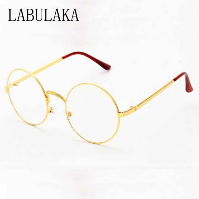 3c1c80c01 Vintage Round Glasses Women Clear Lens Eyeglasses Men Retro Metal Frame Round  Eyewear Elegant Ladies Plain Mirror Gold Eyeglass
