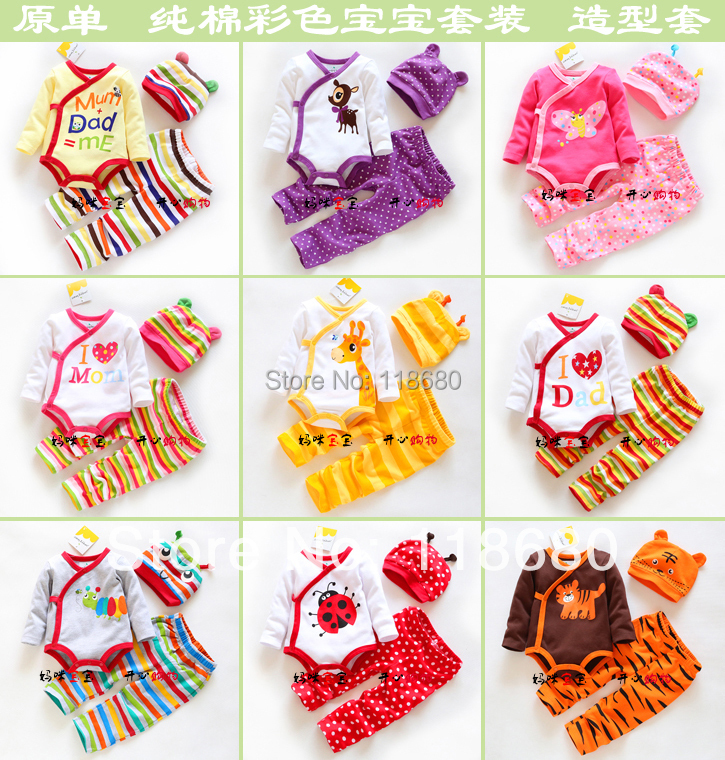 new 2014 spring autumn kids clothes sets baby girl Triangle romper + kids pants + hats sets baby boy cute Striped cartoon sets