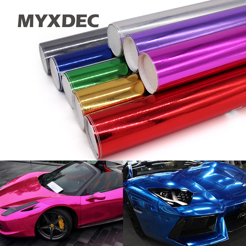 100*30CM espejo de cromo electroplaca de vinilo de envoltura de papel de aluminio de fibra de coche/motocicleta Membrana de decoración pegatina de coche de estilo