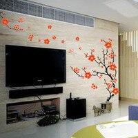 Ağaç Duvar Sticker Erik Ağacı Çiçek Duvar Duvar Sticker Oturma Odası Tv Arka Plan Bitki Tasarım Duvar Dekor Yatak Odası Ev Dekorasyon