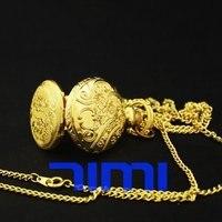 Luxury Engravd Gold Quartz Necklace Pocket Watch FOB