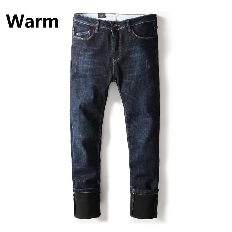 Dark Blue Autumn Winter Warm Jeans Men New Brand Clothing Flocking Soft Mens Black Fleece Jeans Denim Pensil Pants Uomo B265 napapijri guji check dark blue