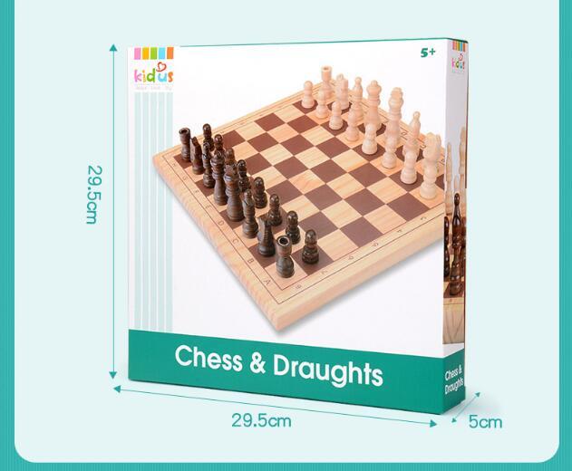 Échecs internationaux en bois et courants d'air jeu de famille d'échecs Parent-enfant jeu interactif jouets de peinture à l'eau saine pour bébé enfant - 6