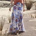 Europa estilo vintage impreso floral de la falda larga de la manera nuevo estilo casual beach party maxi falda elástico de la cintura del verano