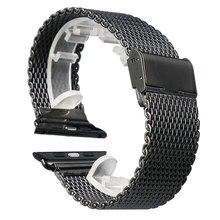 Haute qualité noir 38 MM / 42 MM en acier inoxydable Mesh Apple bracelet Band pour iWatch intelligent montres livraison gratuite