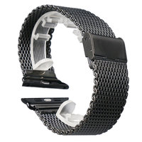 High Quality Black 38MM 42MM Stainless Steel Mesh Apple Watch Strap Band For IWatch Smart Watches