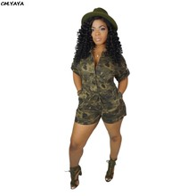 3ca227ffeb2 2019 women summer camouflage sashes waist half sleeve military single  button up shorts jumpsuit safari playsuit romper M7174