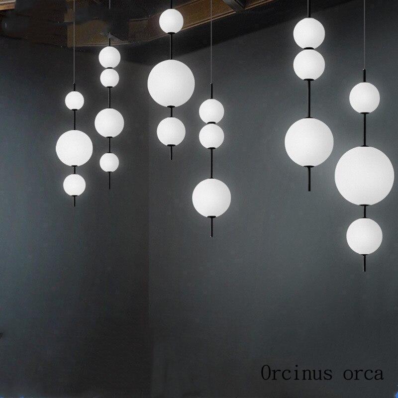 Nordic modern LED glass bulb chandelier restaurant bar bedroom postmodern creative personality white ball chandelier|Pendant Lights| |  - title=