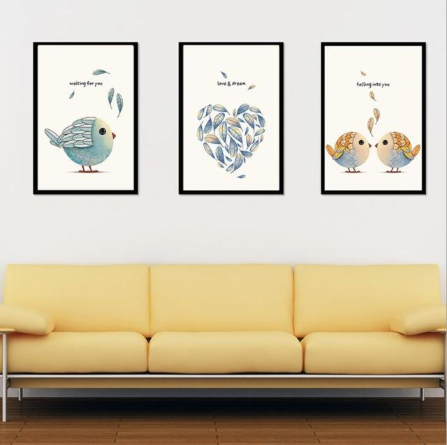 Us 2 59 10 Off Modern Simple Art Crayons Painting Love Birds A4 Canvas Print Poster Image Paintings Living Room Decoration No Frames In Painting