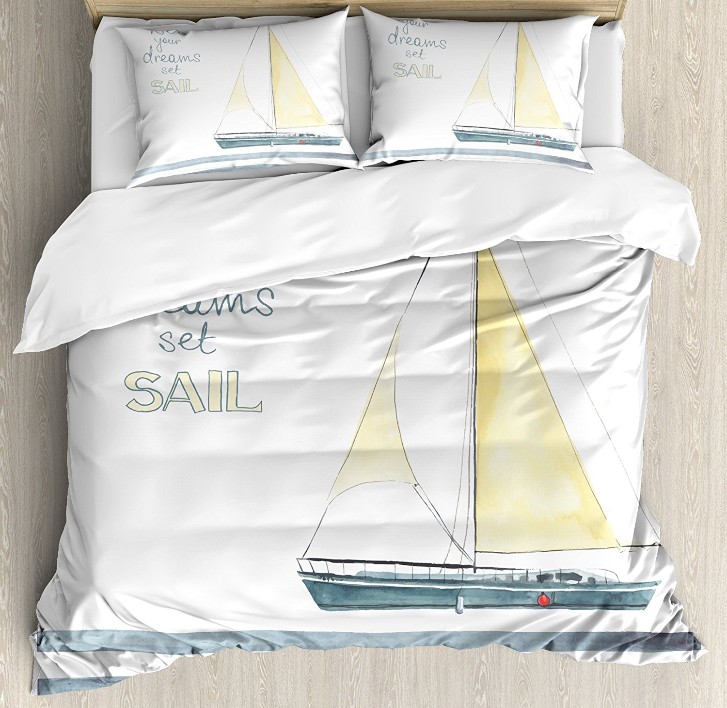 Nautical Duvet Cover Set Let Your Dreams Set Sail Quote Stripes Yacht Interior Navigation Theme, 4 Piece Bedding Set