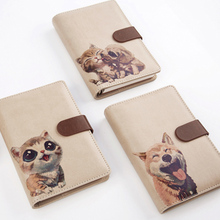 CAGIE Cute Spiral Leather Notebook Kawaii Panda Cat Lined Pages Dividers Planner A6 Binder Travel Diary