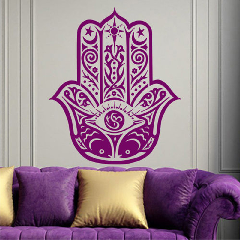 POOMOO Wall Decal, Hamsa Wall Decal India Amulet Protection Yoga Buddhism Hand Eye of Fatima 56x67CM