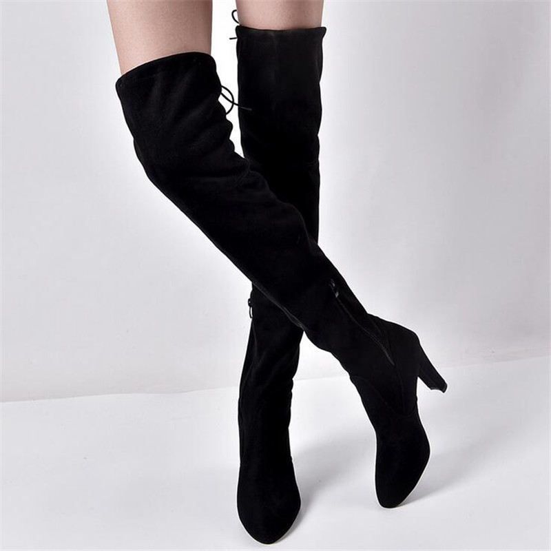 2018 Women Thigh High Boots Over the Knee 8CM High Heel Botas Stretch Fabric Winter Boots Chaussures Femme Plus Size 35-43