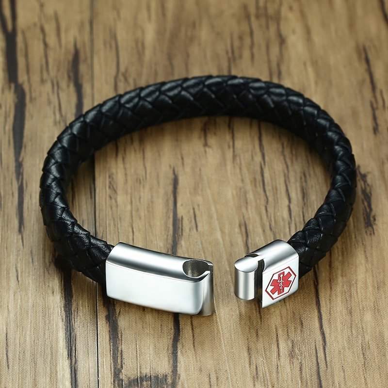 Meaeguet Black Braid Genuine Leather Medical Alert ID Bracelet Magnet Buckle Stainless Steel Bangle for Men Jewelry Wristband (12)