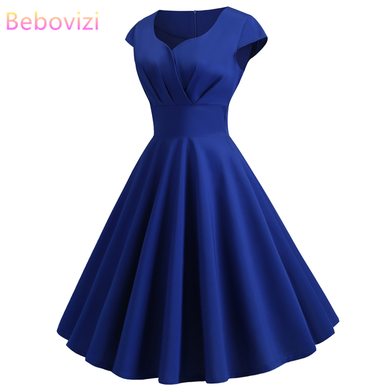 US $9.35 45% OFF|Bebovizi 2019 New Women Casual Summer Dress Fashion  Elegant Office Royal Blue Dresses Vintage Plus Size Long A Line Vestidos-in  ...