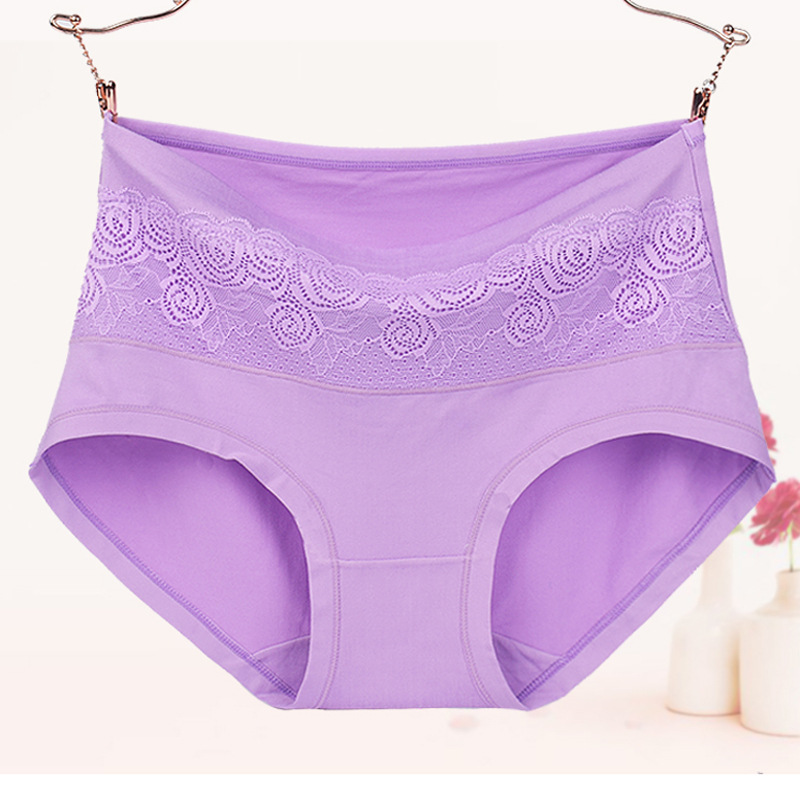 QA282 Big Size 6XL Middle Waist Briefs Solid Lace Women   Panties   Elegant Sexy Female Lingerie   Panty