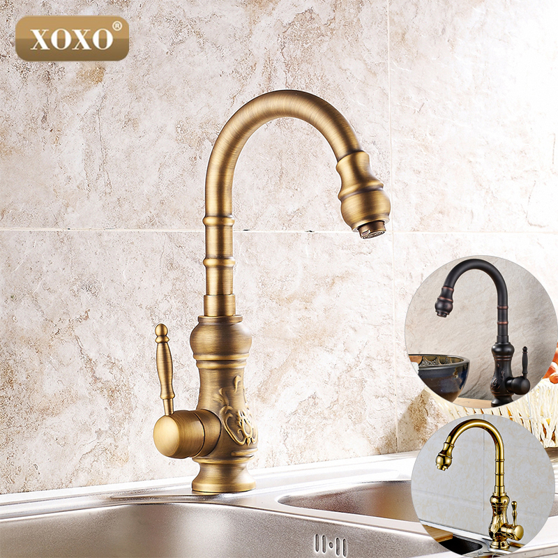 XOXO Kitchen faucet Antique Brass Bathroom Basin Faucet Swivel Spout Vanity Sink Mixer Tap Single Handle 77791B antique brass swivel spout dual cross handles kitchen