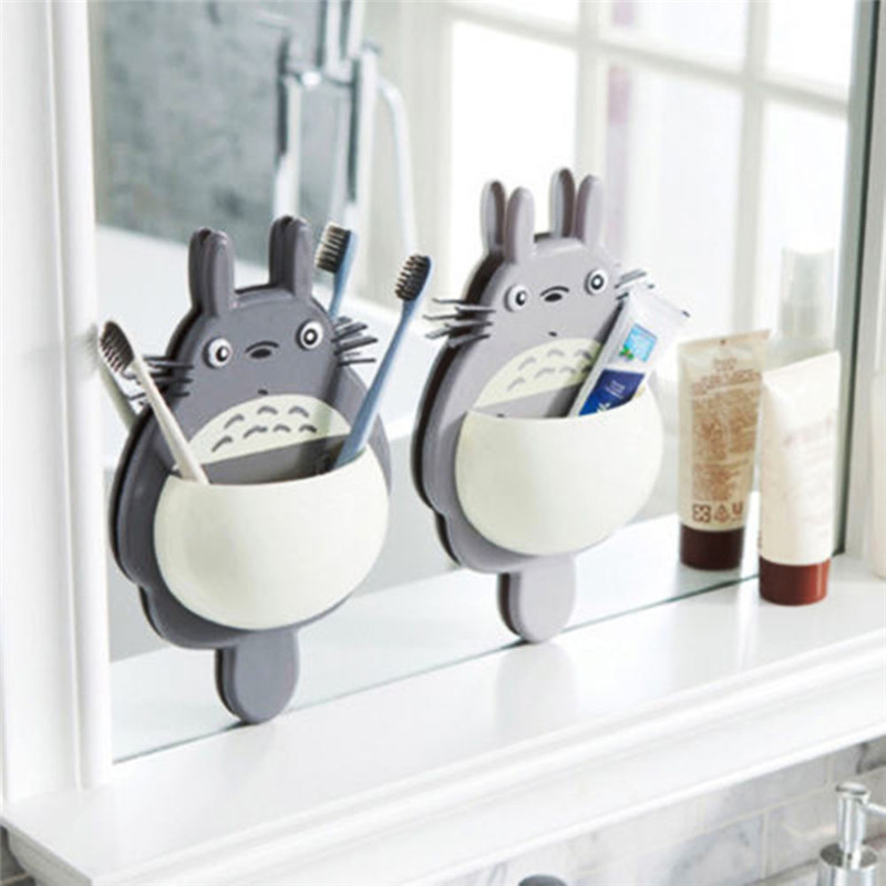 WALFOS High Quality Toothbrush Holder Cute Totoro Toothbrush Wall Mount Holder Sucker Suction Organizer Home Bathroom Accessorie