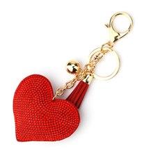 Long Crystal Heart Tassel Keychain