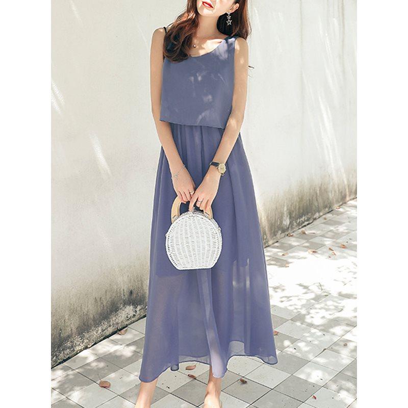 Summer Elegant Simple Girls Blue Vintage Korean Chiffon Women Midi Dresses 2019 Plus Size Plain Sexy Party Beach Female Dress in Dresses from Women 39 s Clothing