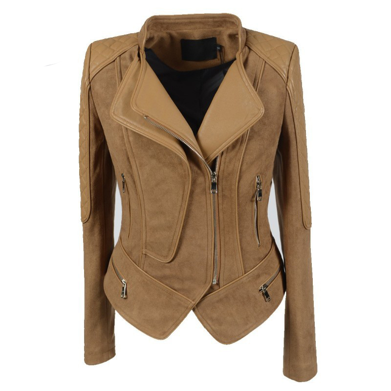 Multi Zippers Double Collar Design Retro Classic Female Shorts   Suede     Leather   Jacket Women Plus Size 5XL 6XL