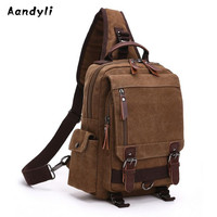 Canvas Travel Bags Men And Women Crossbody Bag Casual Shoulder Bag Ipad Chest Package