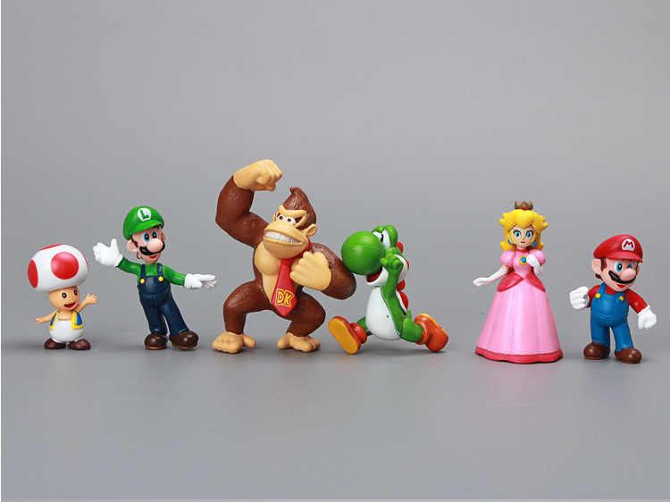 18 pçs/set Plástico Super Mario Bros Luigi Figuras de Ação Brinquedos Dolls