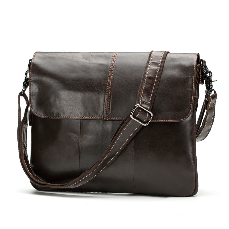 Full-grain leather Cow Messenger Genuine Leather Laptop bag men Fashion Casual Business tablet bag men tablet black notebook bag