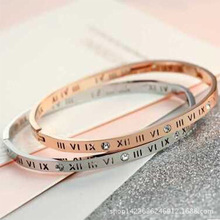 Trendy Rose Gold Color Bracelets for Women Cubic Zirconia Roman Numerals Letter  Stainless Steel Bangles